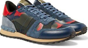 Valentino Garavani Men's Rockrunner Navy Sneakers